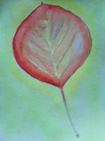 Aspen leaf in fall. Watercolor. October 7, 2014 by Michael James Fitzgerald.