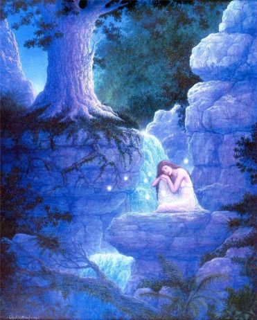 Painting of a girl by a stream, surrounded by orbs, by Gilbert Williams