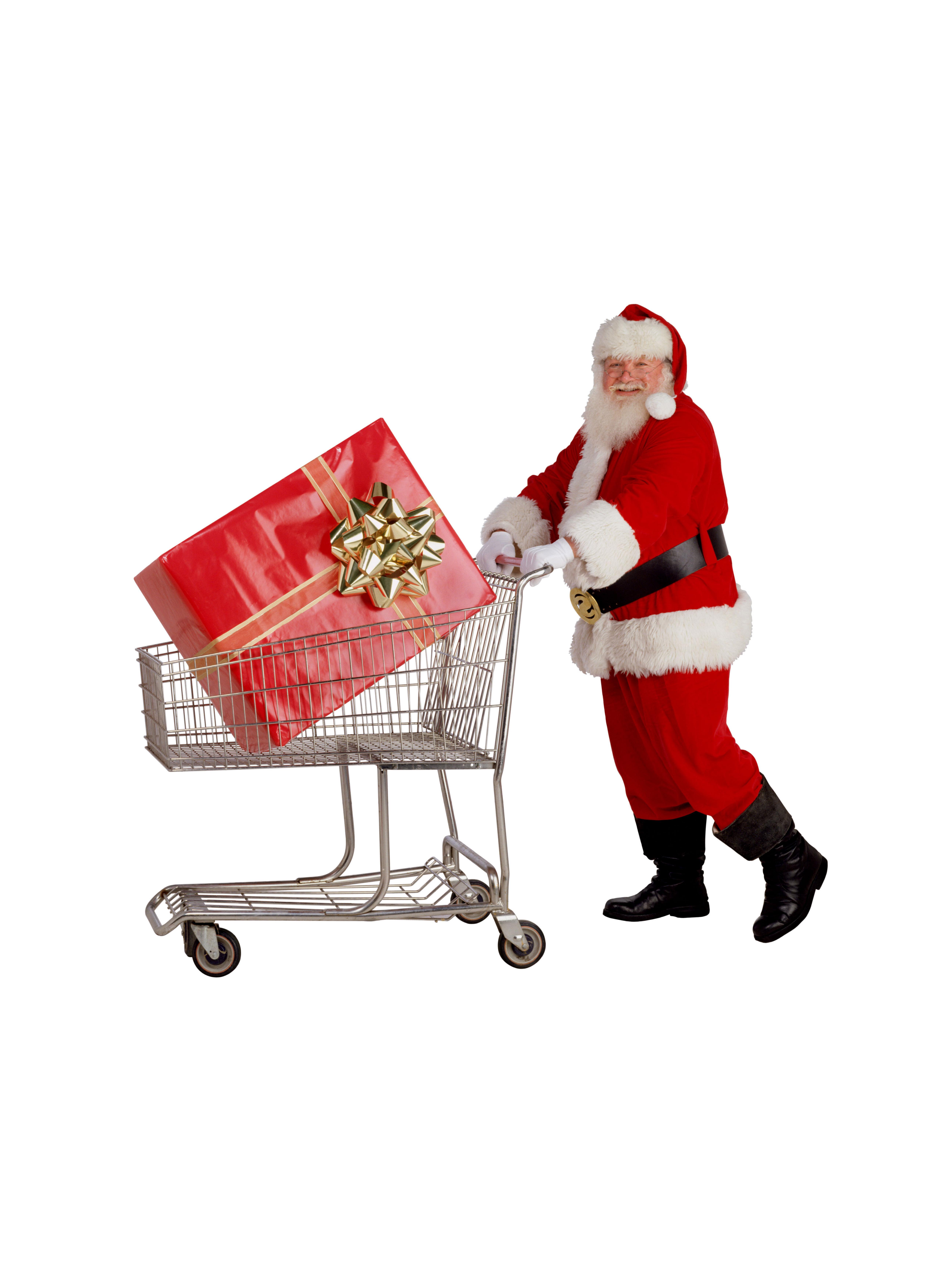 Santa pushing a shopping cart.