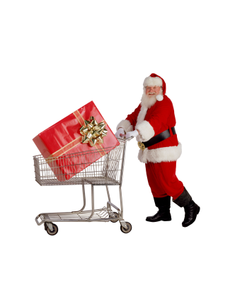 Santa pushing a shopping cart.