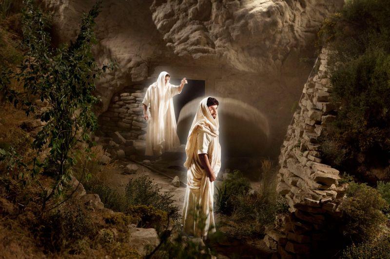 Angels roll away the stone from the door of Jesus's tomb. Copyright IRI, Inc. Courtesy Gospel Media, https://www.churchofjesuschrist.org/media