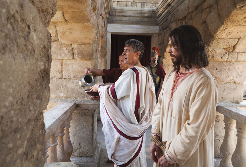 Pontius Pilate washing hands. Copyright IRI, Inc. Courtesy Gospel Media, https://www.churchofjesuschrist.org/media