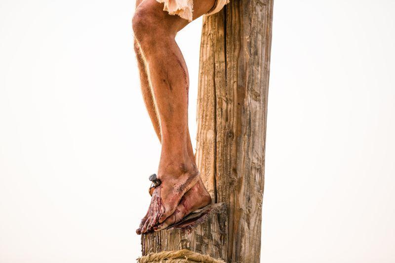 Jesus's feet nailed to the cross. Copyright IRI, Inc. Courtesy Gospel Media, https://www.churchofjesuschrist.org/media