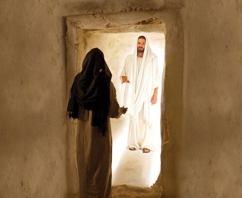 Jesus and Mary Magdalene at the tomb. Copyright IRI, Inc. Courtesy Gospel Media, https://www.churchofjesuschrist.org/media